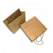 PZ 5 Borsa di carta avana beige con manico in corda per confezione regalo