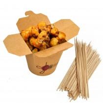 pz 50 contenitori richiudibili in carta 1000 cc ( 14,3 x 18 cm) per asporto cibo + pz 100 stecchini da 10 cm ideali per fritture, patatine, fritti misti e cibo da asporto