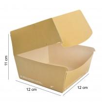 PZ 50 Box panino grande 12 x 12 x 11 cm in cartoncino color avana ideale per asporto di panini e fritti