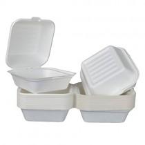 pz 25 contenitore con coperchio 100% canna da zucchero bio e compostabile idoneo per microonde