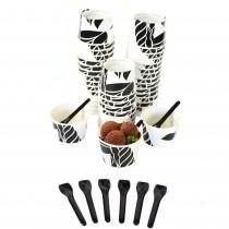 pz 250 coppette 180 gr in cartoncino decorato + pz 500 cucchiaini neri 9,5 cm