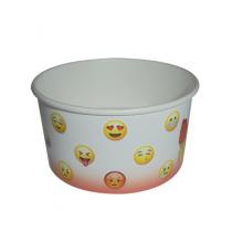 """PZ 250 Coppette colore bianco con motivo """"Emoji"""" cc 160 per gelato in cartone"""