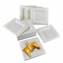 pz 50 piatti piani quadrati 20x20 biodegradabili (idoneo al solo riscaldamento in microonde)  ideali per alimenti come ,verdura,formaggi e frutta, pasta, riso e patate.