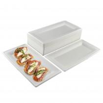 pz 50 piatti piani rettangolari 23x13 biodegradabili (idoneo al solo riscaldamento in microonde)  ideali per alimenti come aperitivi,verdura,formaggi, patate.