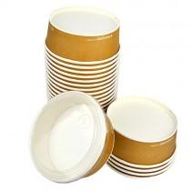 pz 40 insalatiera rotonda bio in cartoncino avana + pz 40 coperchi per insalate ed alimenti da asporto.