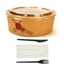 Kit promozionale pz 50 Insalatiera rotonda in cartoncino + coperchio + pz 50 Bis di Posate compostabili