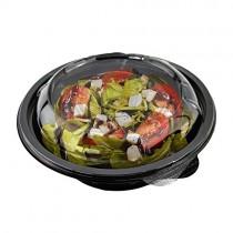 pz 50 insalatiera rotonda 500 cc diametro 15 cm pet + pz 50 coperchi trasparenti ideale per l'asporto di insalate, riso, pasta, farro e legumi