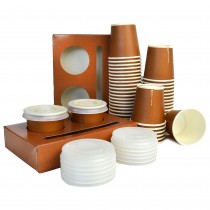pz 100 cestino porta bicchieri 2 fori + pz 200 bicchieri 3 oz (80 ml) in carta avana + pz 200 coperchi trasparenti