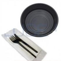 Kit promozionale 100 Piattino nero tondo black noir formato piccolo + pz 100 Bis di Posate compostabili
