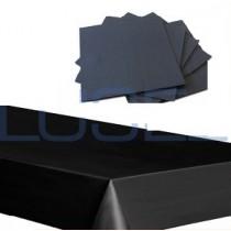 PZ 20 Tovaglie nere in carta TNT da cm 100 x 100 + pz 200 Tovaglioli black da cm 38x38