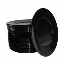 PZ 50 Piattino dessert nero in plastica alimentare rigida per aperitivo