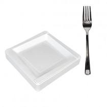 pz 100 piattino bianco quadrato cm 13,5 in plastica rigida per dessert + pz 100 forchette in plastica color argento