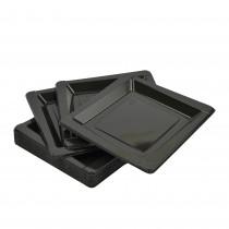 pz 100 piattino nero quadrato cm 13,5 in plastica rigida per dessert e dolci piatto black