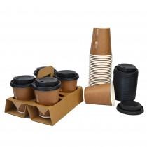 pz 50 cestino porta bicchieri 4 fori + pz 200 bicchieri 9 oz (266 ml) in carta avana + pz 200 coperchi neri con beccuccio