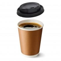 PZ 100 Bicchieri di carta da ml 250 (9 OZ) per cappuccino caffe' + pz 100 coperchi neri con beccuccio