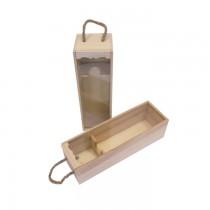 PZ 1 Cassetta portabottiglie in legno con finestra trasparente (1 bottiglia)