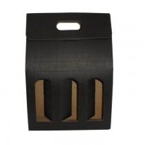 PZ 20 Scatola nera porta bottiglie (3 bottiglie) in cartone ondulato