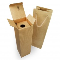 PZ 10 scatola porta bottiglia in cartone rigido marrone 35 x 9,5 x 9,5 + PZ 10 busta porta bottiglia marrone chiaro 11 X 11 X 39 cm