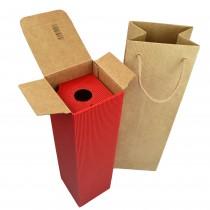 PZ 10 scatola rossa porta bottiglia in cartone rigido ondulato 35 x 9,5 x 9,5 + PZ 10 busta con manici in corda marrone chiaro 11 X 11 X 39 cm