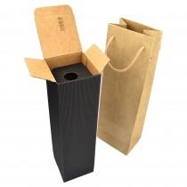 PZ 10 scatola nera porta bottiglia in cartone rigido ondulato 35 x 9,5 x 9,5 + PZ 10 busta porta bottiglia marrone chiaro 11 X 11 X 39 cm