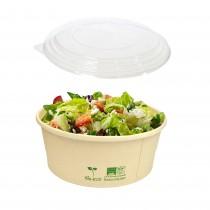 pz 50 insalatiera rotonda bio in cartoncino avana cc 750 + pz 50 coperchi bio per insalate ed alimenti da asporto