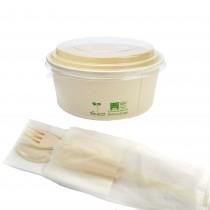 pz 50 contenitore compostable cc 750 + coperchio trasparente compostable + posate imbustate compostabili