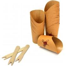 PZ 100 Astuccio per patatine in cartoncino + PZ 100 Forchettine in legno da cm 8,5