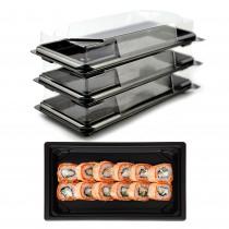 pz 25 porta sushi rettangolare ( 21 cm x 10 cm x h3 cm) ideale per l'asporto di circa 8/10 porzioni + coperchio trasparente