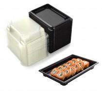 pz 50 vaschetta nera per sushi, sashimi, pesce ideale per l'asporto di circa 3/6 porzioni + coperchio trasparente