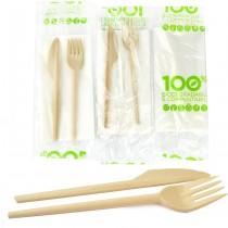 pz 50 bis posate 100% biodegradabili e compostabili (forchetta + coltello) colore avana imbustati con tovagliolo ideale per asporto.