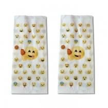 """PZ 500 Sacchetti in carta per alimenti, paper bag con fantasia """"emoji"""" formato grande"""
