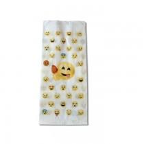 """PZ 500 Sacchetti in carta per alimenti, paper bag con fantasia """"emoji"""" formato piccolo"""