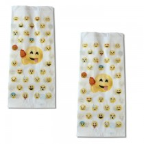 """PZ 500 Sacchetti in carta per alimenti, paper bag con fantasia """"emoji"""" formato medio"""