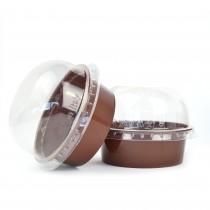 PZ 50 Coppetta tartufo da 90 cc marrone + coperchio trasparente per dolci mousse e semifreddi