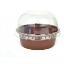 Pz 100 Coppetta tartufo monoporzione da cc 200 nera + coperchio trasparente arrotondato per dolci mousse e semifreddi
