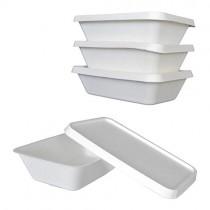 pz 50 vaschetta materiale 100% canna da zucchero bio-eco (1000cc) + pz 50 coperchi (idoneo per microonde)