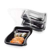 PZ 21 Vaschetta nera (cc 600) + coperchio contenitore per insalate e macedonie da asporto