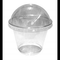 PZ 50 Coppetta macedonia cc 270 (9 oz) in plastica con coperchio per yogurt gelati e frappè